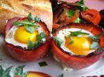 92. Baked Eggs and Mushrooms in Ham Cups p.634